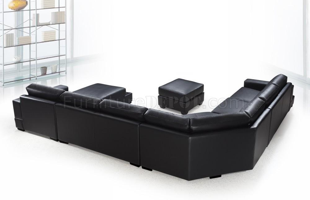 black leather modern u shape sectional sofa wottoman. Interior Design Ideas. Home Design Ideas