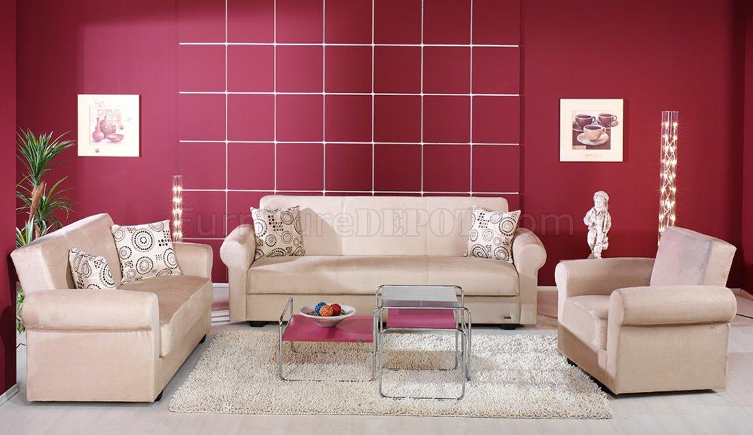 beige microfiber living room with storage sleeper sofa iksb elita s