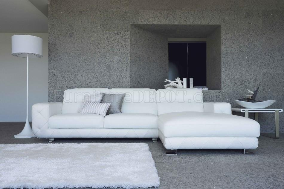 White Leather Modern Sectional Sofa W Tufted Sides Steel