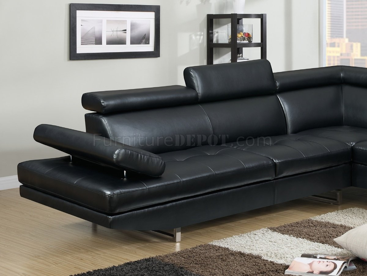 4010 Sectional Sofa In Black Bonded Leather