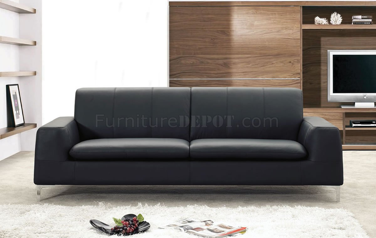 Black Or White Leather Contemporary Sofa