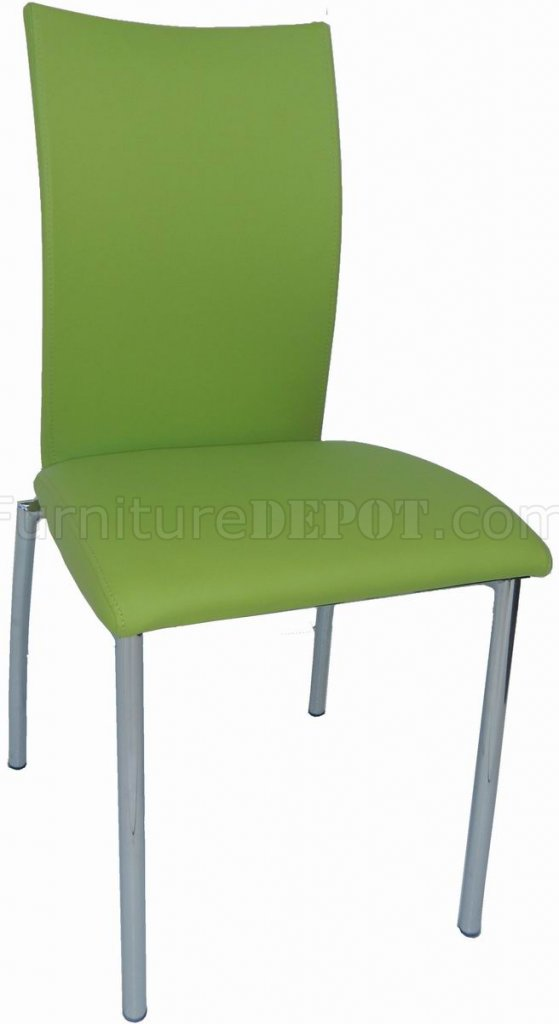 Green Bonded Leather Set Of 4 Modern Dining Chairs