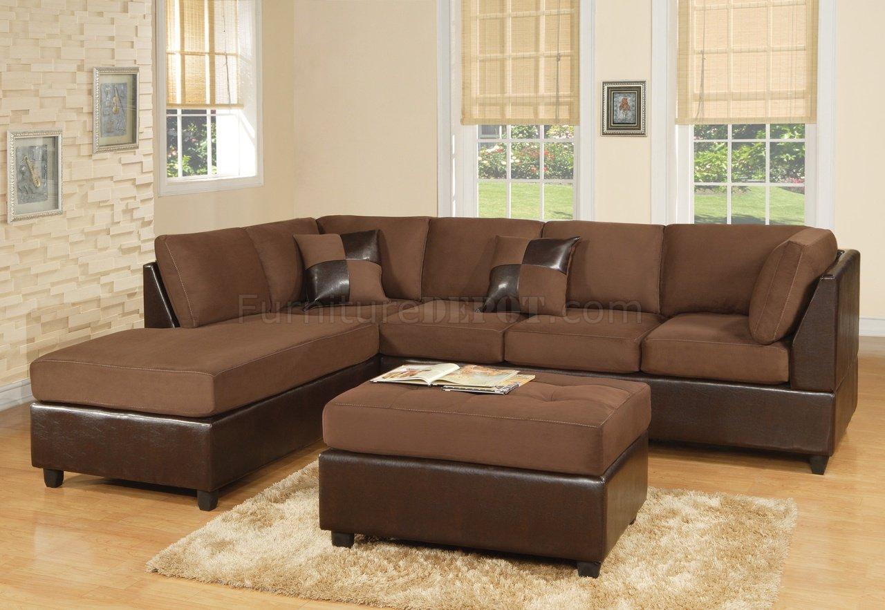 Miraculous Chocolate Fabric Modern Two Tone Sectional Sofa W Bycast Base Creativecarmelina Interior Chair Design Creativecarmelinacom