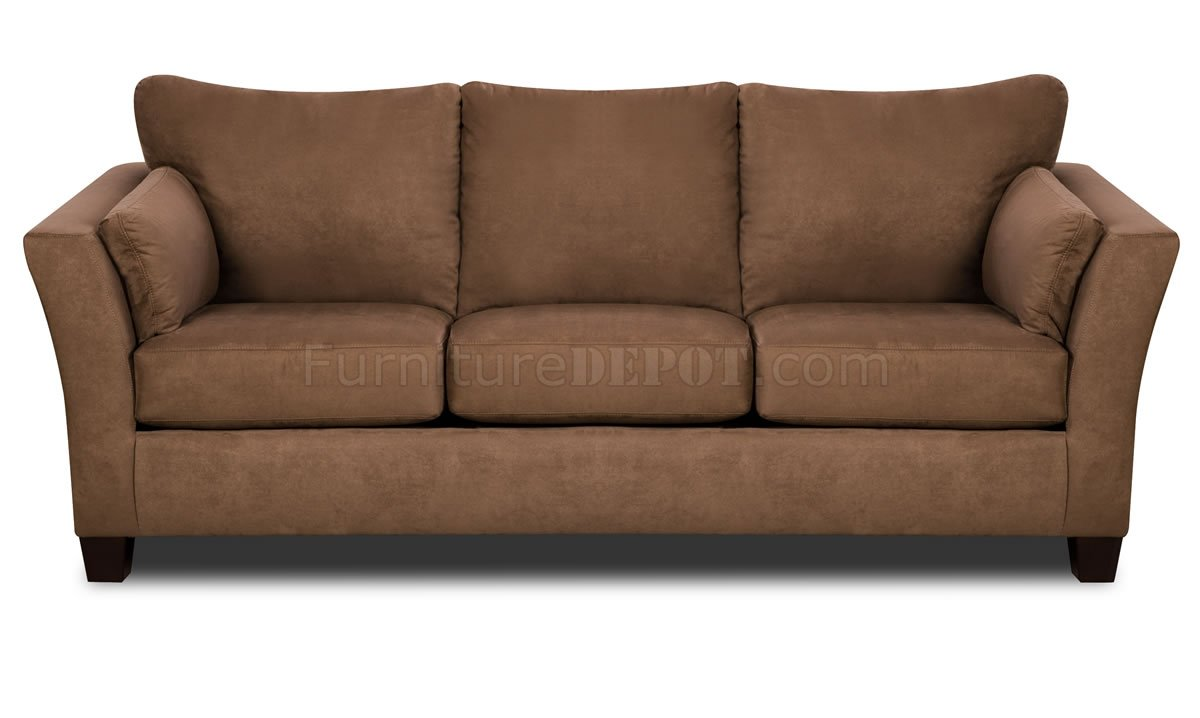 Brown microfiber modern sofa loveseat set w optional table set Brown microfiber couch and loveseat
