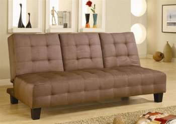Reviews Modern Convertible Sofa Bed W Pull Down Tray in Brown Microfiber