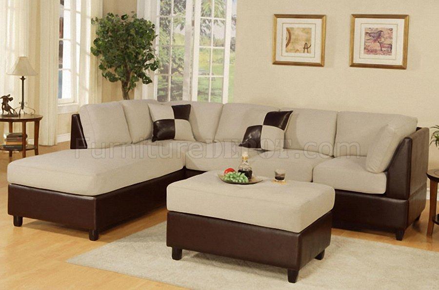 Mushroom Microfiber Contemporary Sectional Sofa W/Ottoman