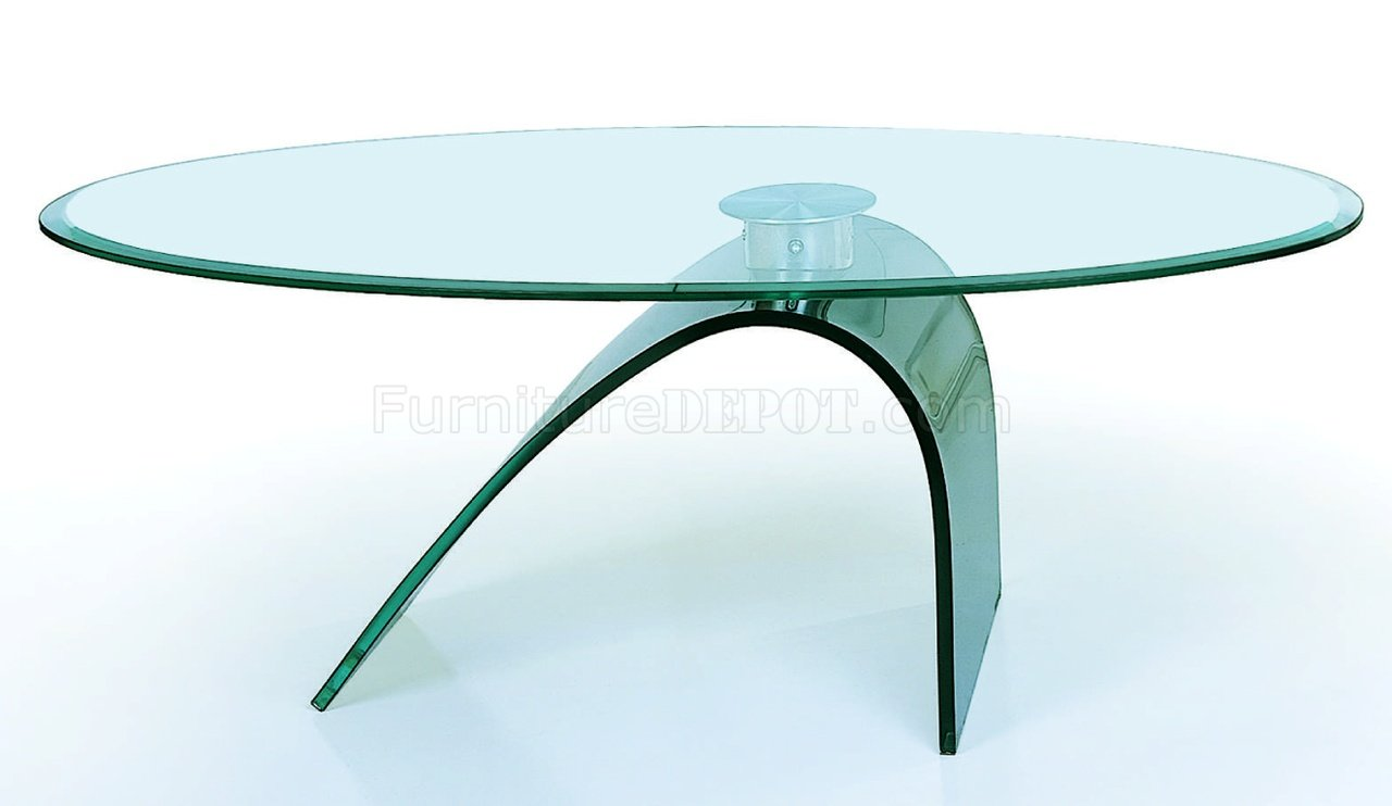 Clear glass top artistic coffee table with c shape glass base Glass furniture tops