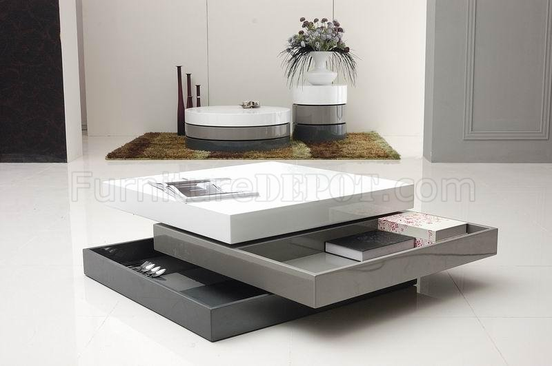tri-tone finish modern square coffee table w/swivel parts Swivel Coffee Table