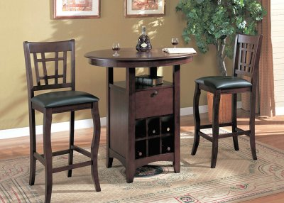 Brown Finish Modern 3 Pc Bar Table Amp Stools Set W Wine Rack