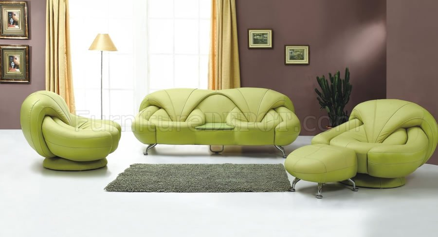 2 piece light green leather sofa and chair set for Modern living room green