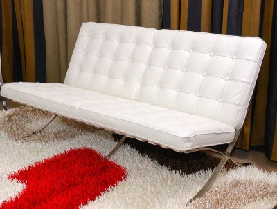 White Button Tufted Full Leather Modern Loveseat