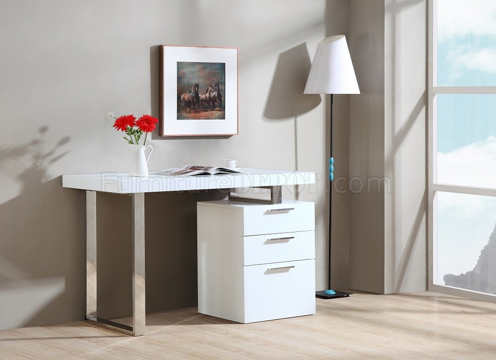 Vienna Modern Office Desk In White Gloss By JM Gorgeous Modern Office Furniture Miami Collection