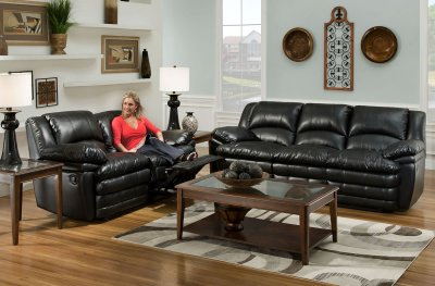 Leather Sofaloveseat on Black Bentley Bonded Leather Reclining Sofa   Loveseat Set At
