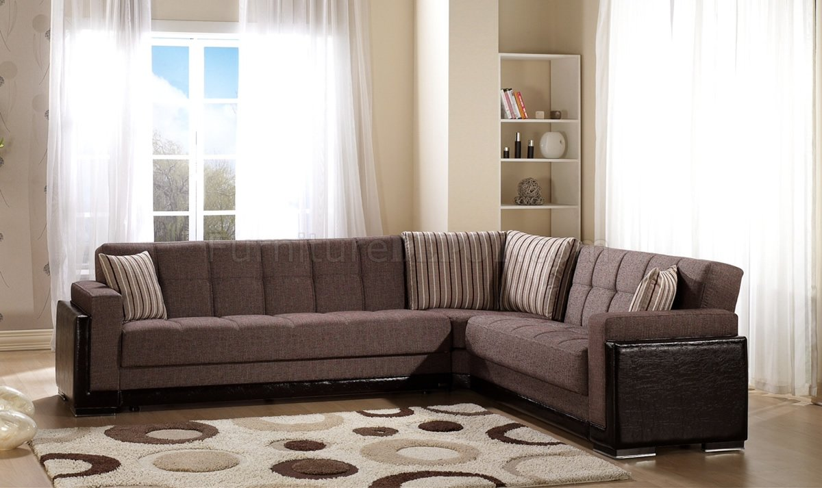 Brown fabric leatherette base sectional sofa bed w storage for Duke sectional sofa bed w storage