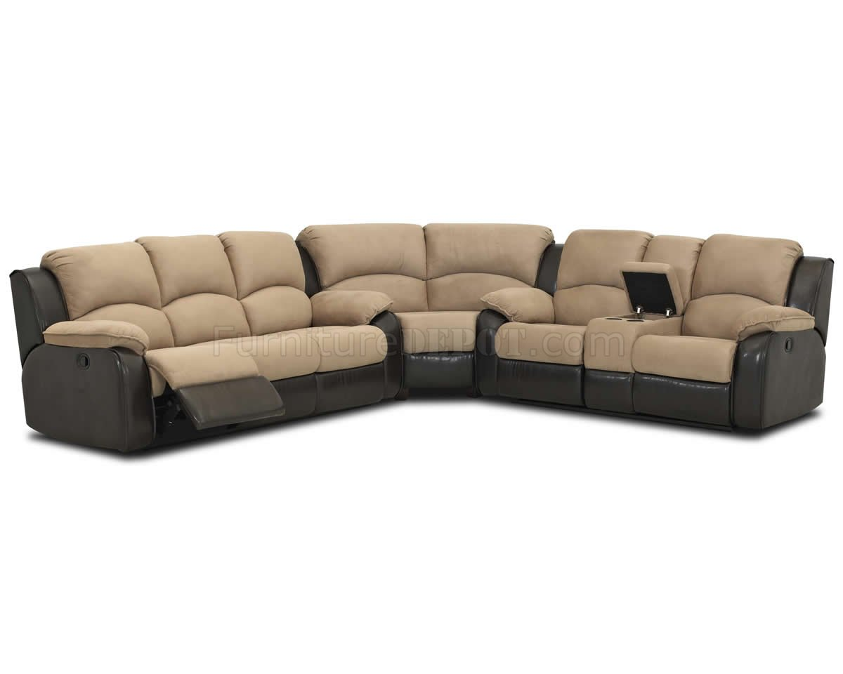 Two-Tone Hot Chocolate Fabric Reclining Sectional Sofa  sc 1 st  Furniture Depot : two tone sectional - Sectionals, Sofas & Couches