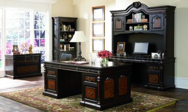 TwoTone Brown Massive Classic Office Desk WCarving Details
