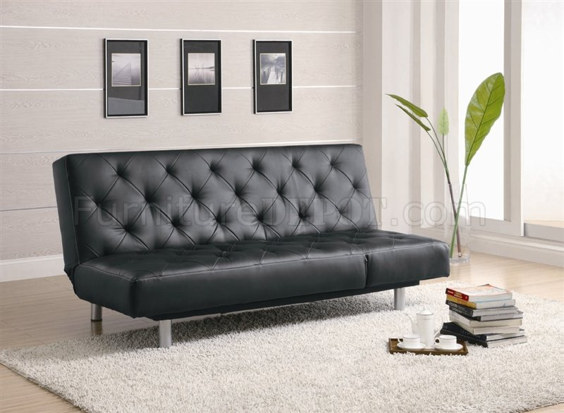 Black Leather Like Vinyl Modern Sofa Bed Convertible