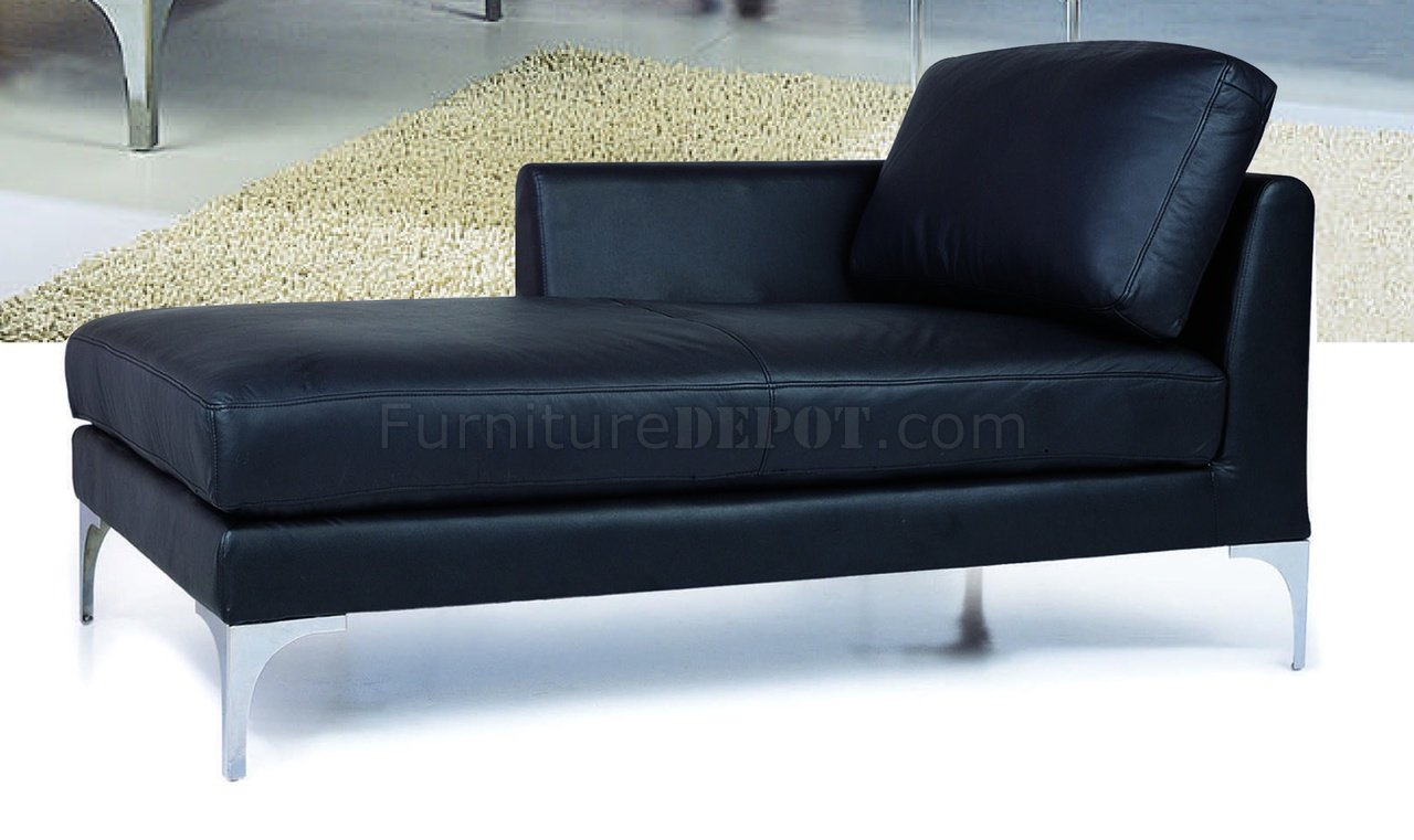 Black Top Grain Leather Match Sectional Sofa