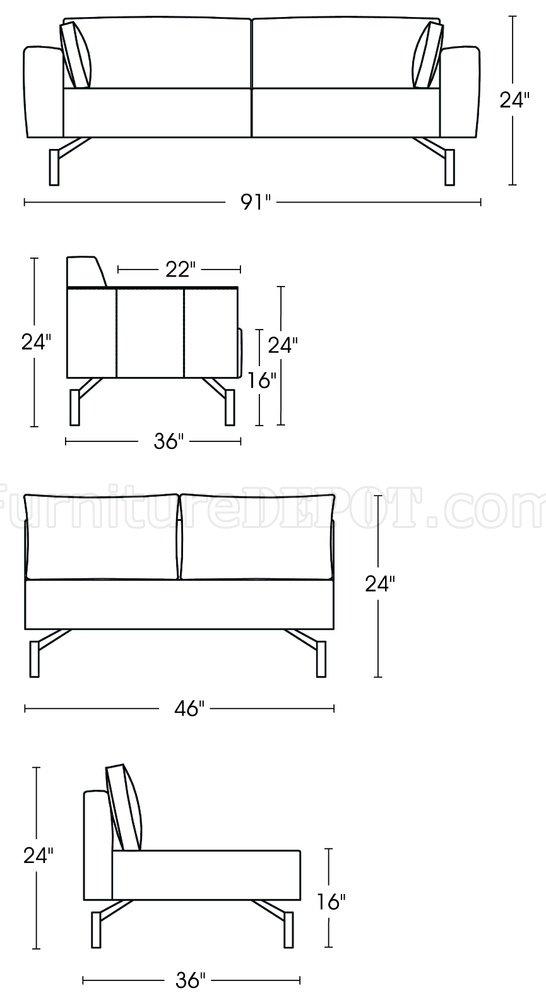 Saddle Brown Microfiber Contemporary Sectional Sofa