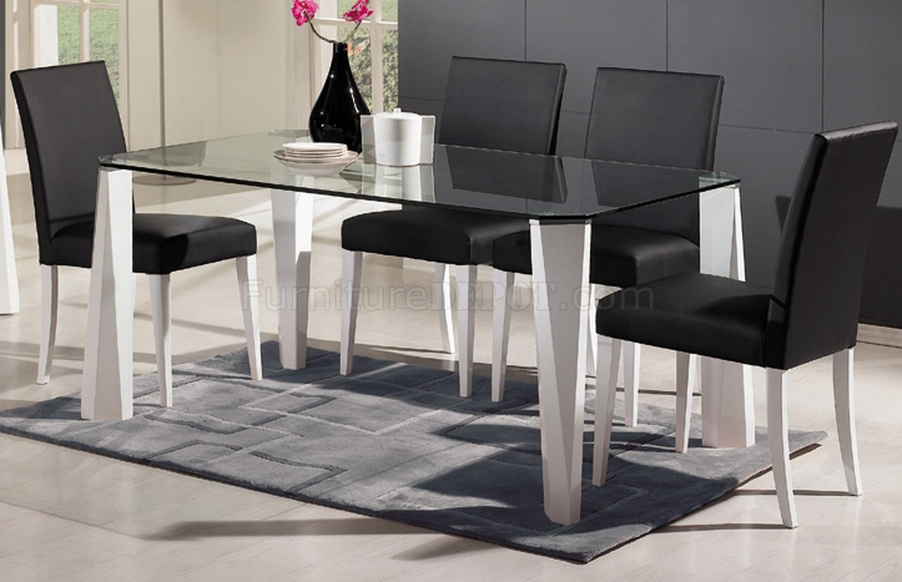Glass Top & White Legs Modern Dining Table W/Optional Chairs