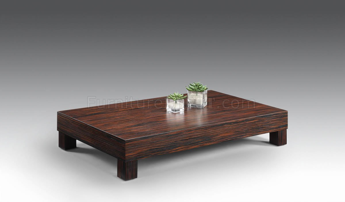 zebrano finish low base contemporary coffee table cvct manhattan