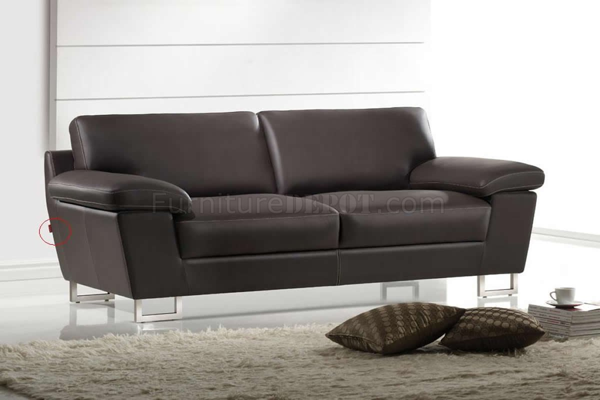Dark Brown Leather Modern Sofa Loveseat Set W Metal Legs