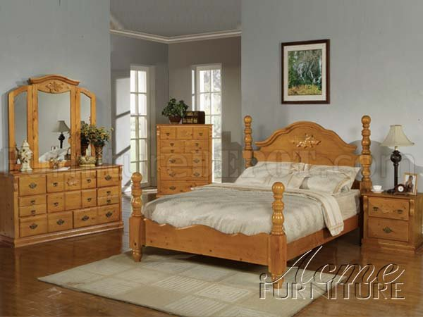 08390 ponderosa honey bedroom in honey oak by acme for Oak bedroom sets