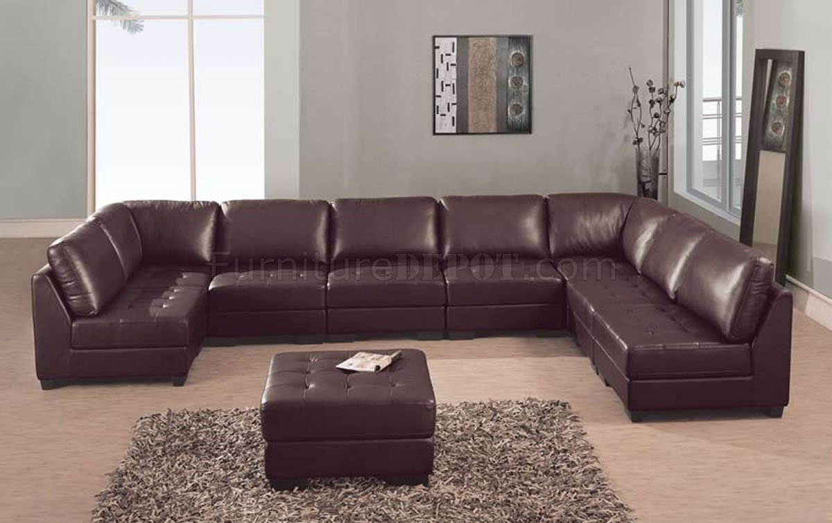 Brown leather 8 pc modern sectional sofa w tufted seats for Leather sectional sofa