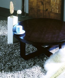 Wenge or Teak Finish Modern Artistic Coffee/End Table