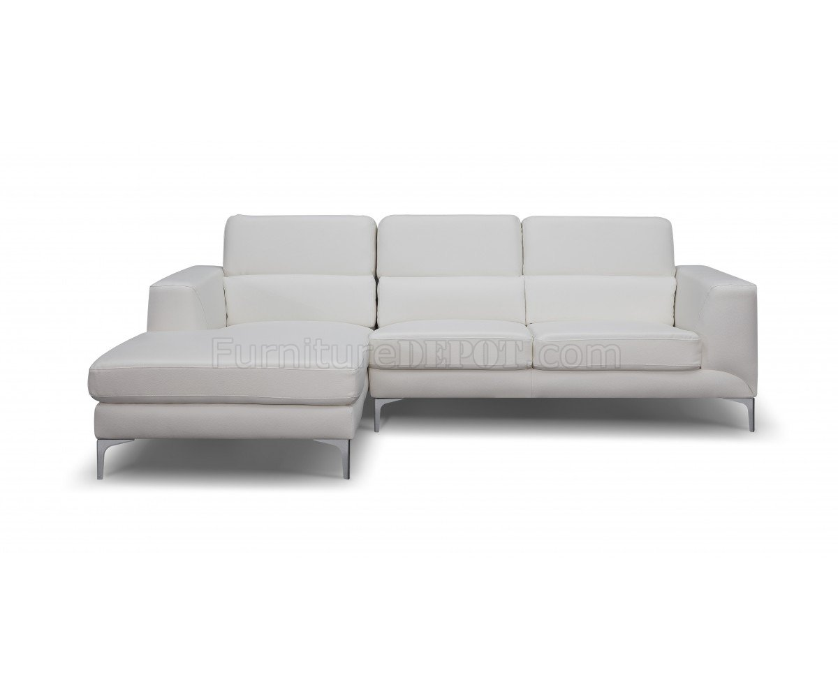 Sydney sectional sofa in white faux leather by whiteline
