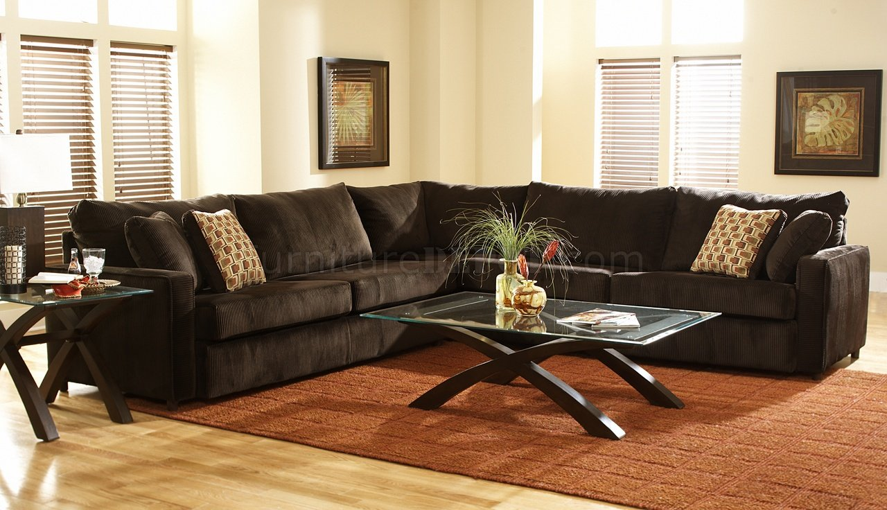 viva chocolate fabric modern sectional sofa w large back pillows chfss