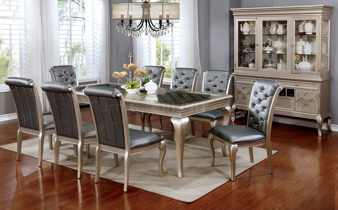 Amina Cm3219 Dining Table In Champagne W Options