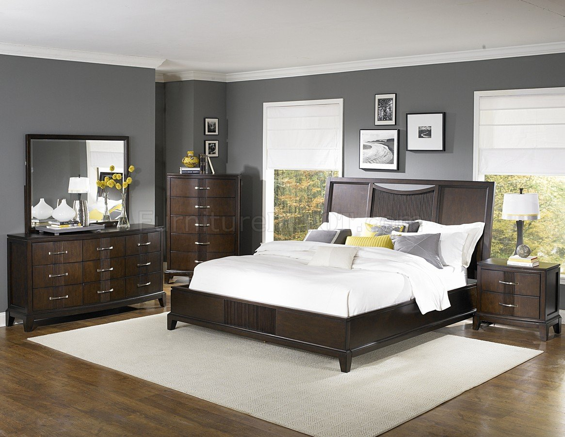 Dark Espresso Finish Contemporary Bedroom W Optional Items