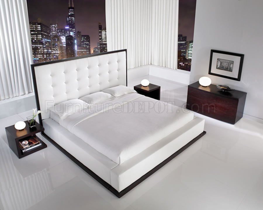 White Full Leather Ludlow Bed With Oversized Tufted Headboard
