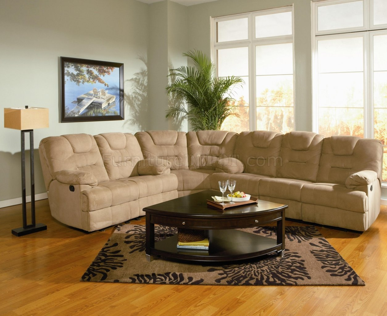 mocha padded microfiber reclining sectional sofa whigh backs p