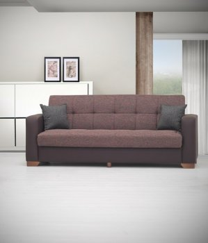 Reviews Lego Sofa Bed in Brown Microfiber by Rain w Optional Items