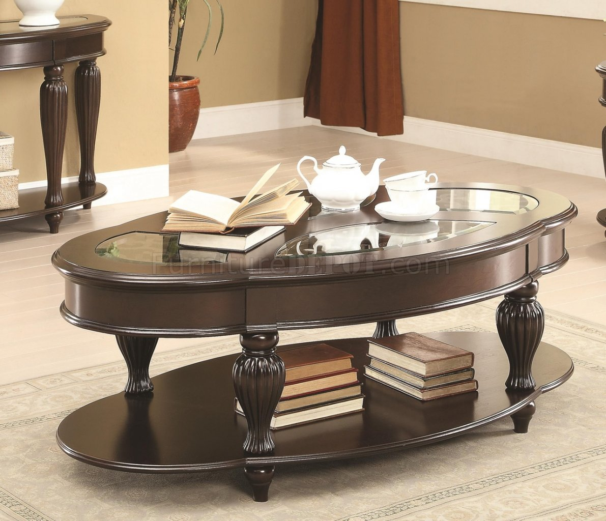 703848 Coffee Table By Coaster In Dark Merlot W Optional Tables
