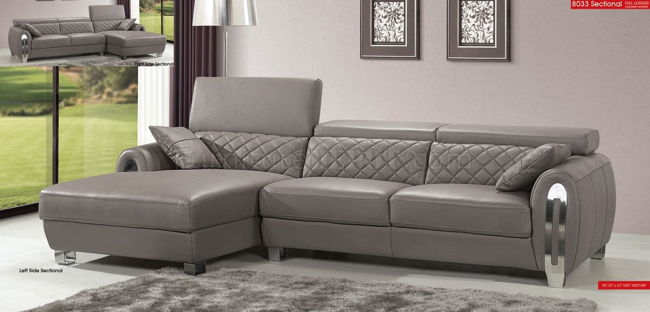 Light Grey Full Italian Leather Modern Sectional Sofa