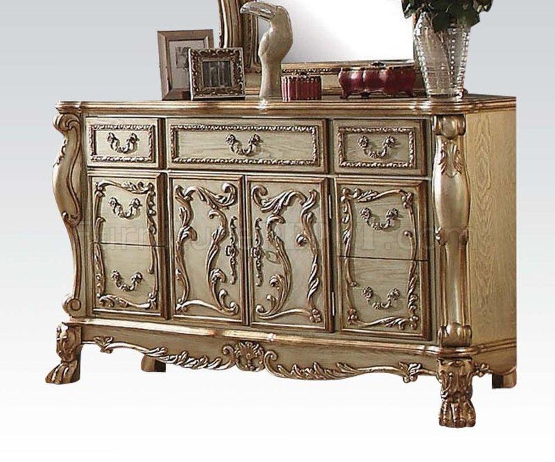 Dresden Bedroom In Gold Tone Patina U0026 Bone By Acme W/Options