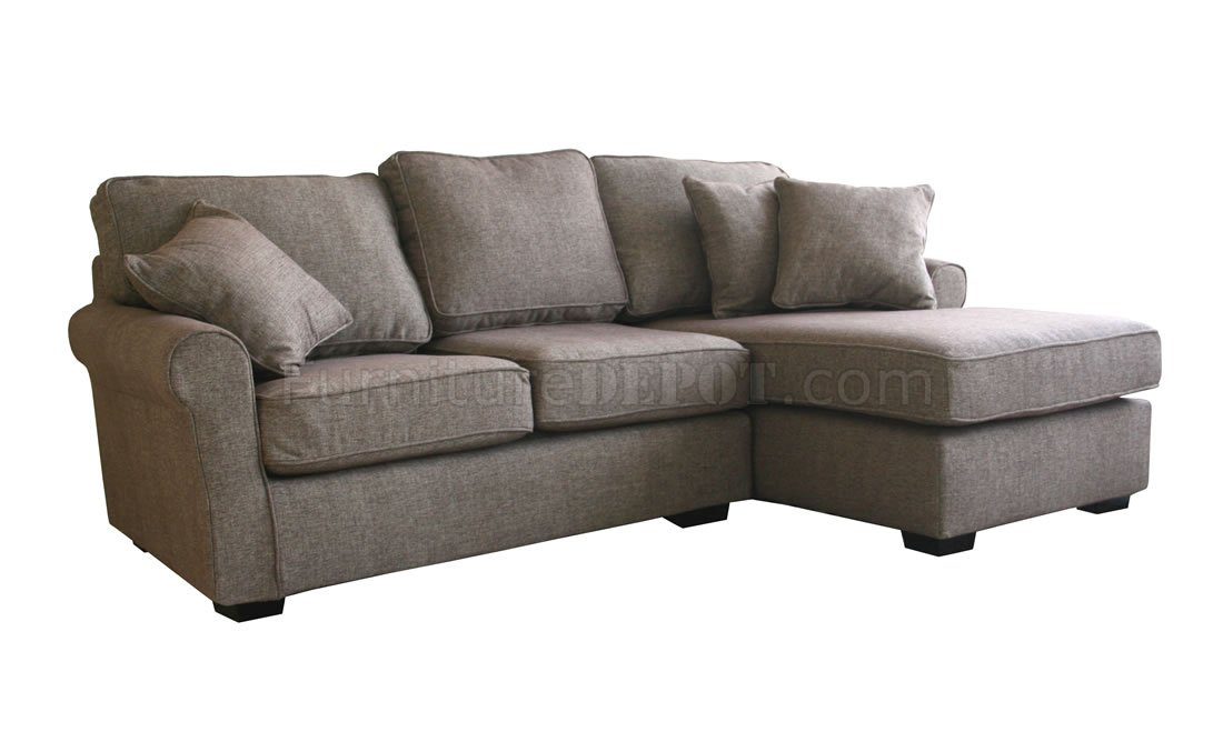 Contemporary Small Sectional Sofa In Brown Fabric