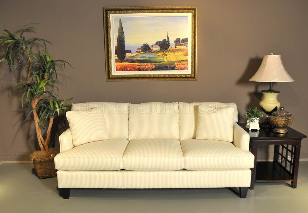 Cream cottage haze fabric sofa loveseat set w optional Cream fabric sofa
