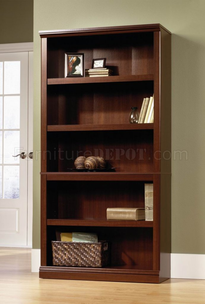 Select Cherry Finish Modern 5 Shelf Bookcase