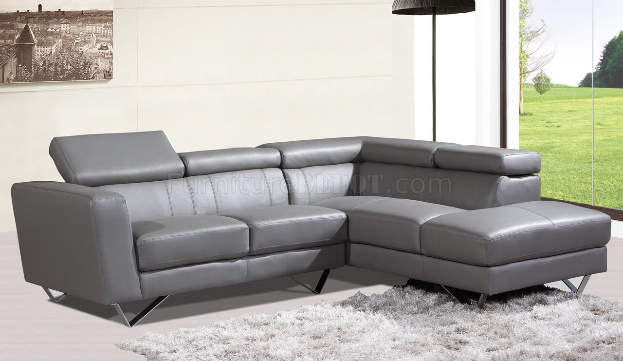 Sectional Sofa In Grey Leather By At Home USA - Gray leather sectional sofas