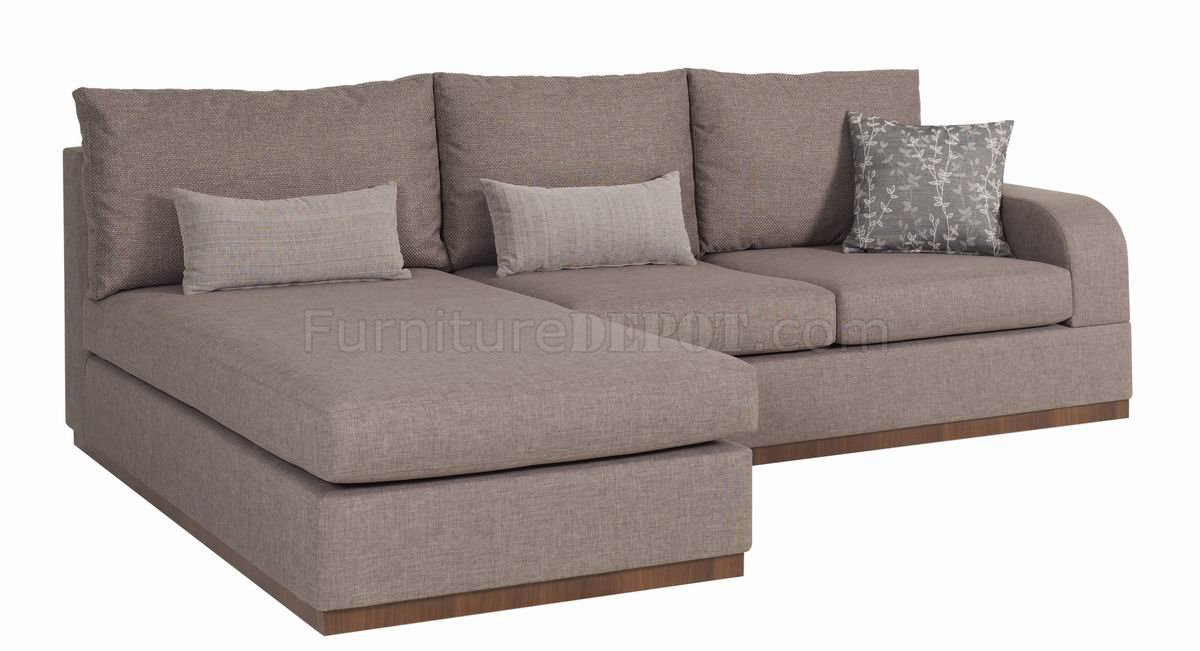 Bronze cream fabric contemporary elegant sectional sofa Cream fabric sofa