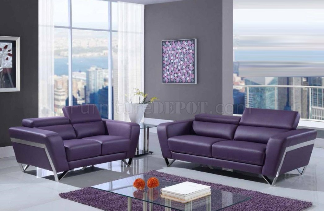 purple leather couch u7120 3pc sofa set in purple bonded leather by global 1690