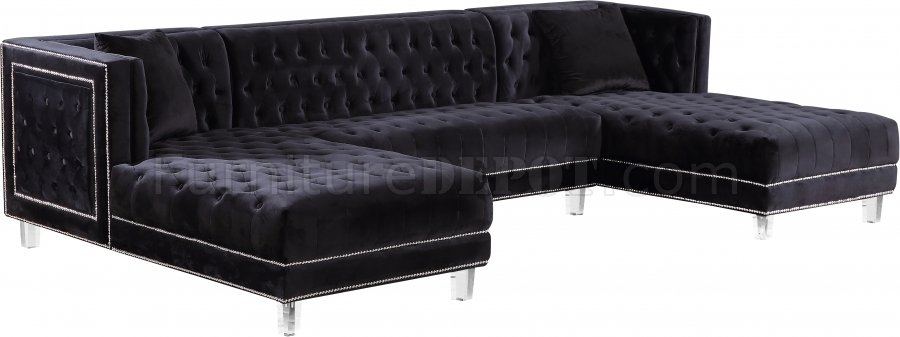 Moda Sectional Sofa 631 in Black Velvet Fabric by Meridian  sc 1 st  Furniture Depot : black velvet sectional - Sectionals, Sofas & Couches