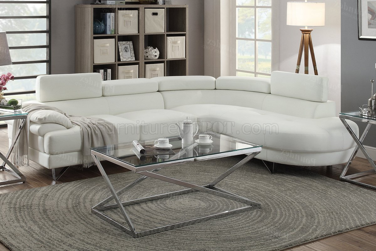 F6985 sectional sofa in white faux leather by boss for Poundex white faux leather modern sectional sofa