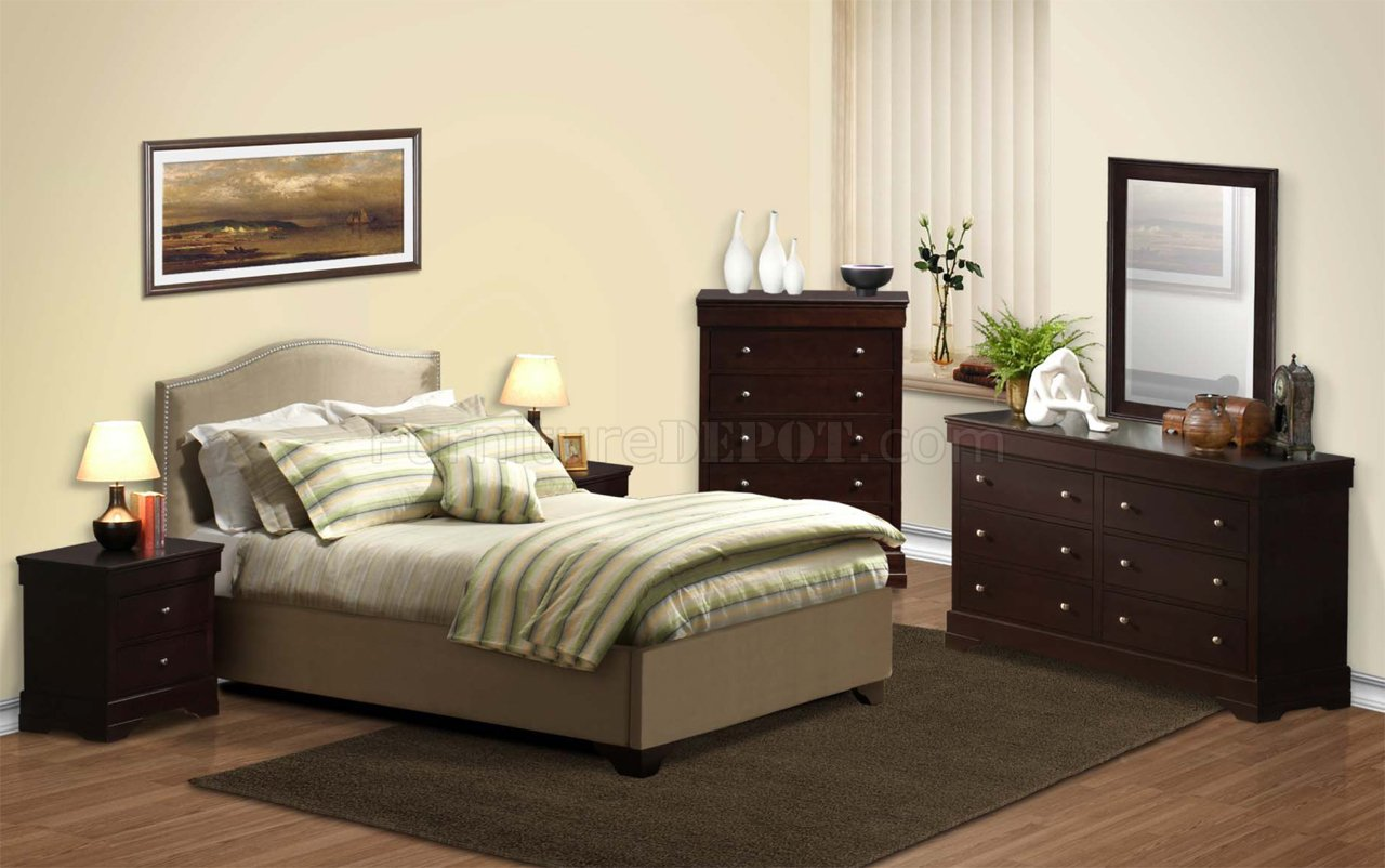 Cappuccino Transitional Bedroom 5pc Set W Beige Bed Amp Options