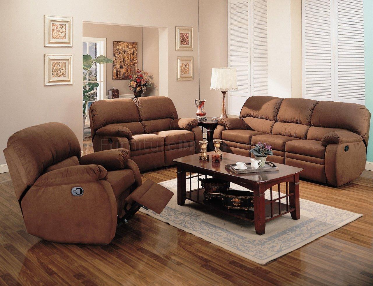 soft chocolate microfiber reclining living room sofa w options
