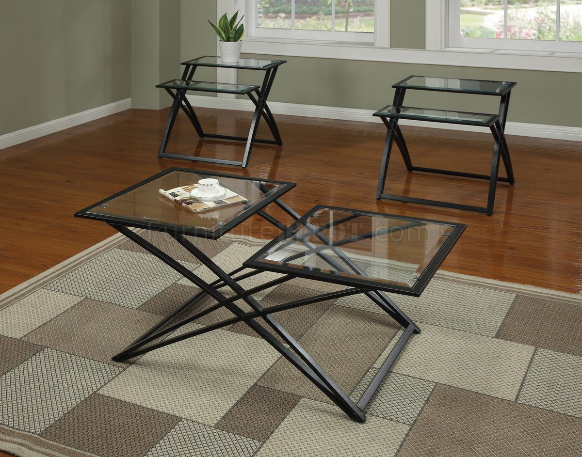 Glass Top Black Metal Base Modern 3pc Coffee Table Set